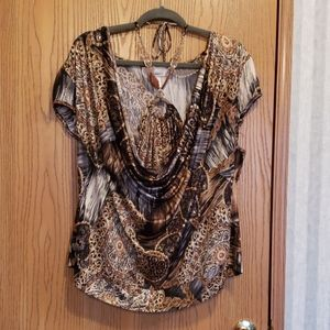 Dress Barn Blouse with Necklace attached, Size 1X
